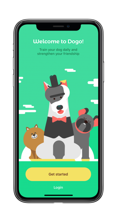 Dog training app start screen on mobile phone