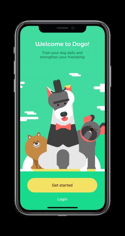 Dog training app start screen on mobile phone